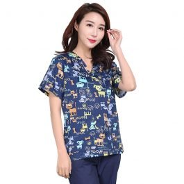 Blue Flowers Dogs/Cats Print Cotton Scrubs
