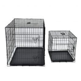 PAWZRoad Pet Crate Double-Door Pet Kennel Collapsible