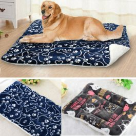 Small / Large Pet Bed Cushion Soft Warm Kennel Dog Mat Blanket