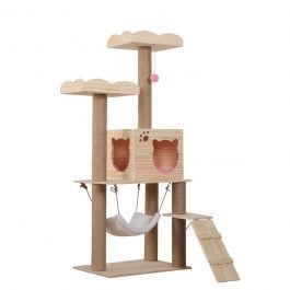 Cat Multi-Level Platform Natural Wood Cat Scratching Tower