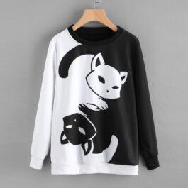 Autumn Winter Cat Print Pullover