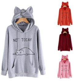 Not today – Lovely Cat Printed Long Sleeve Loose Pullovers Hoodie