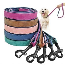 Dog Leather Leash Lead Walking Running Rope