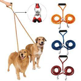 Dog Double Leash Nylon Tangle Free Dual Training
