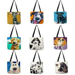 Dog Print Fashion Tote Bag Fabric Handbag