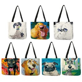 Dog Art Print Linen Tote Bag