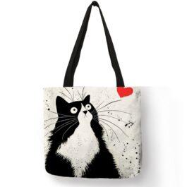 Cute Cat Print Linen Tote Bags