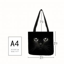 Cute Cat Print Shoulder Tote Bag