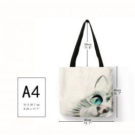 Watercolor Cute Cat Print Shoulder Bag