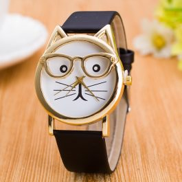 Leopard Cat Face Women Analog Quartz With Leather Strap