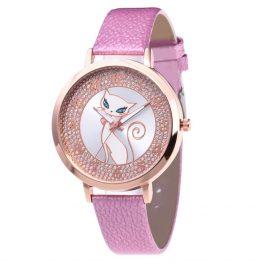 Women Watch Rhinestone Charming Cat Dial Ladies Quartz WristWatch