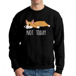 Not Today Corgi Dog – Man Hoodie Cotton Sweatshirt Crew Neck Pullover