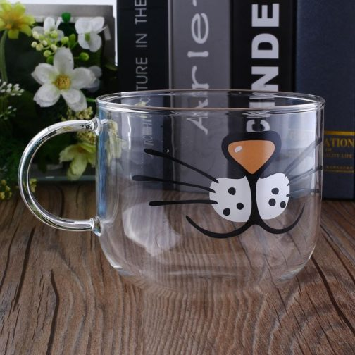 glass coffee mug with cat face
