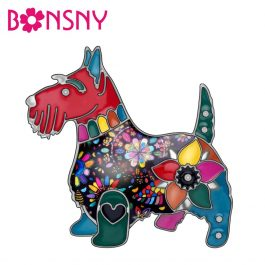 Bonsny Enamel Alloy Floral Scottish Dog Pin