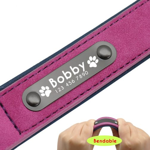 customizable dog leather collar nameplate